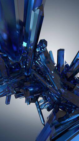 3d render. Digital illustration of blue quartz crystals on light background. Stock Photo