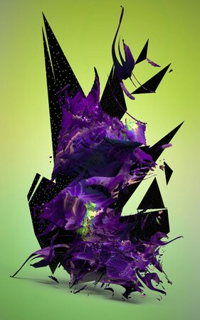 3d render. Digital abstract composition background
