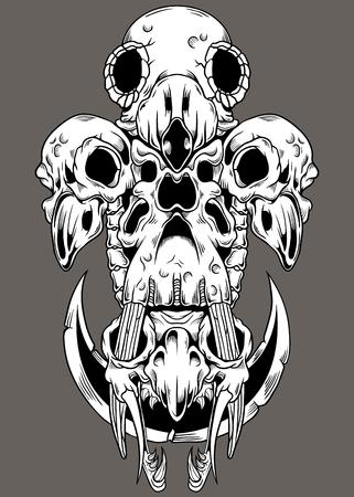 Animal Skull Mix  イラスト・ベクター素材
