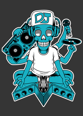 DJ Czaszka Ilustracje wektorowe