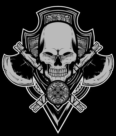 Skull axe vector Illustration