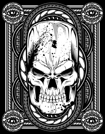 danger skull: Skull vector tattoo patturn