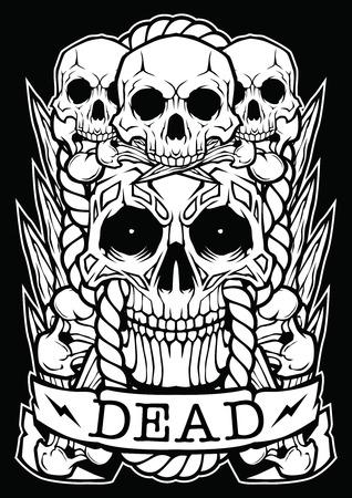 Skull Dead Face Dark Design Иллюстрация