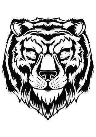 Tiger Face Head Tattoo Design Vector Animal