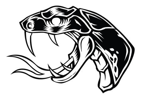Snake Face Head Vector Design Black