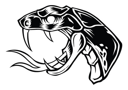 Il nero di disegno di vettore della testa del fronte del serpente Archivio Fotografico - 83933496