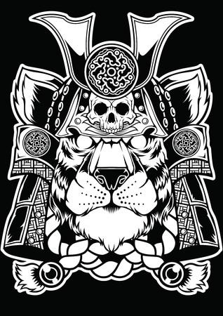 Samurai Tiger Face Head Tattoo Design.