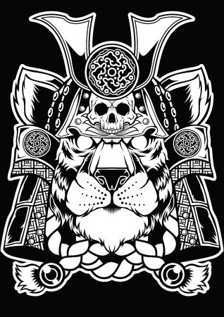 Samurai Tiger Face Head Tattoo Design.