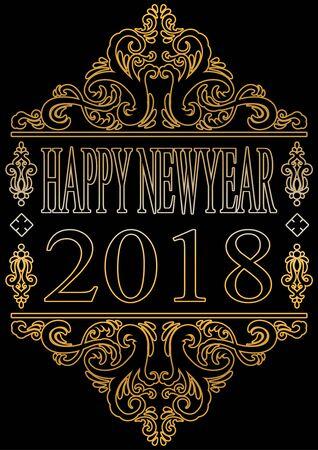 Happy new year 2018 Vector illustration.  イラスト・ベクター素材