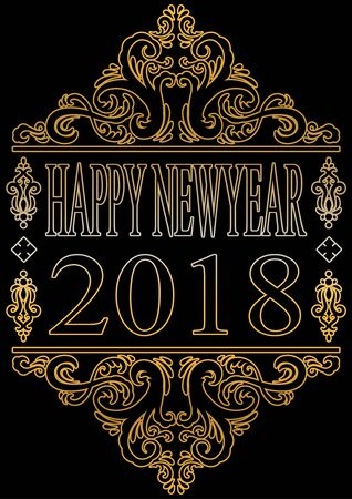 Happy new year 2018 Vector illustration. Иллюстрация