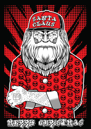 Santa Claus rock metal Vector illustration.