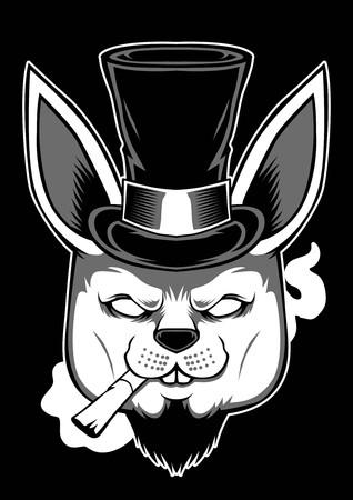 Rabbit in black hat smoking Vector illustration.