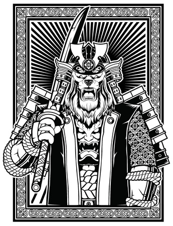 Samurai Shogun Lion in black and white artistic design in a frame