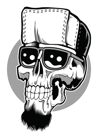 Skull Poster Hip in a black and white cartoon illustration  イラスト・ベクター素材