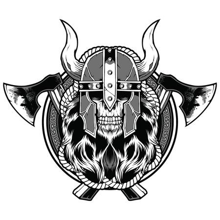 Skull barbarian axe tattoo sticker warrior