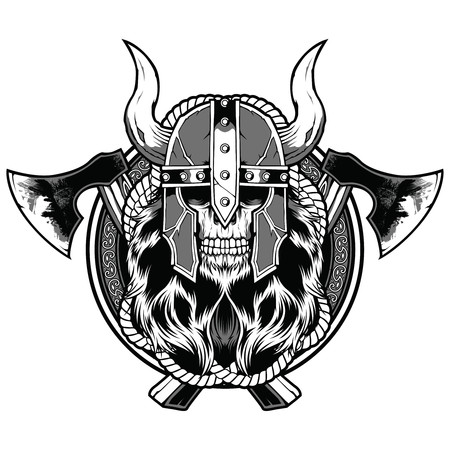 Skull barbarian axe tattoo sticker warrior