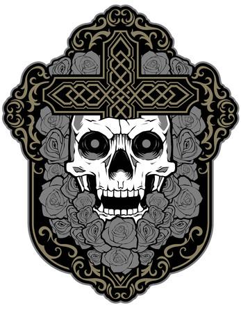 Skull flower rose beautiful design tattoo sticker