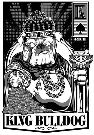 König Bulldog Bier Banner Karte Tattoo Aufkleber Vektorgrafik