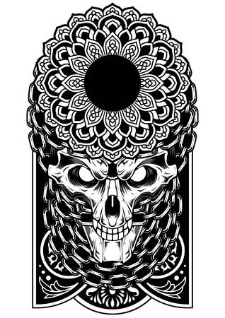 Skull art chain vector dark tattoo sticker