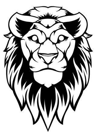 Lion Art Vector Design logo banner black sticker tattoo background Çizim