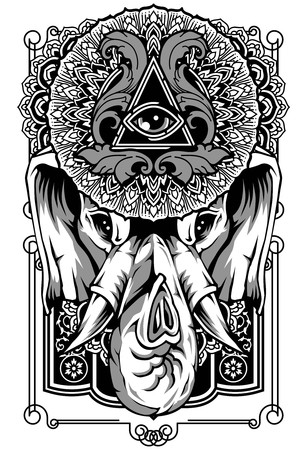 Elephant art design poster vector tattoo sticker background black animal face