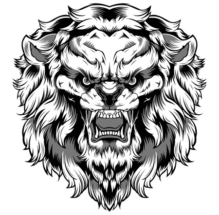 Lion Art Vector Design logo banner black sticker tattoo background  イラスト・ベクター素材