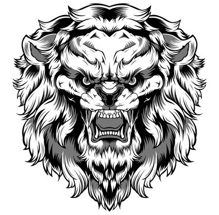 Lion Art Vector Design logo banner black sticker tattoo background Иллюстрация