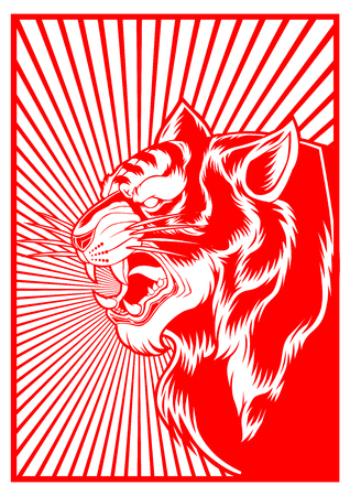 Tiger Red Background Design Face Animal