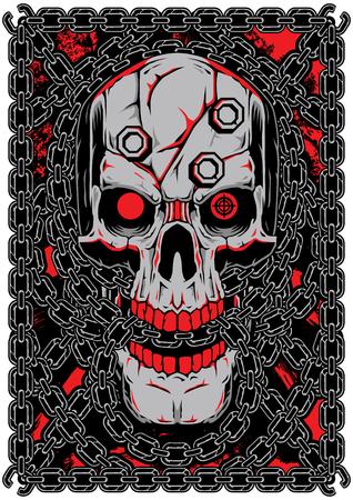 Skull Chain Vector Art