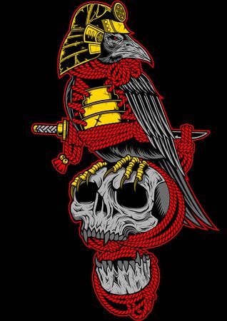 Samurai crow On the skull and katana sword Иллюстрация