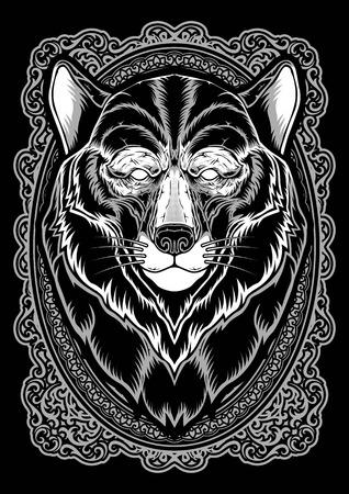 Wolf head dark animal