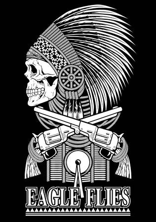Skull art red indian and old gun Illustration