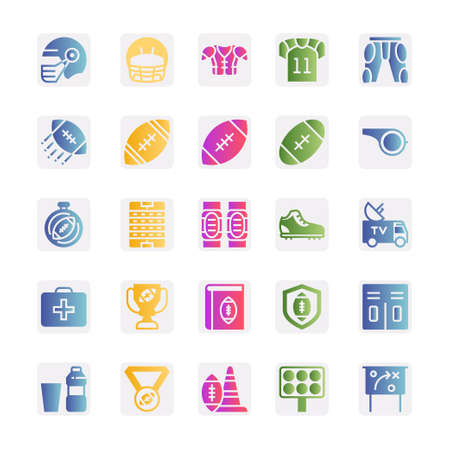 Gradient color icons for american football. Illustration