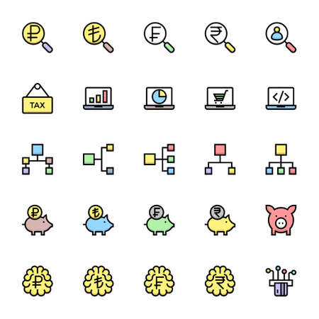 Filled color outline icons for business & financial.