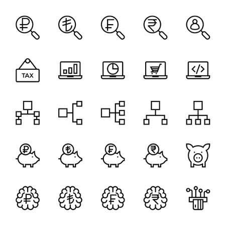 Outline icons for business & financial. Ilustração