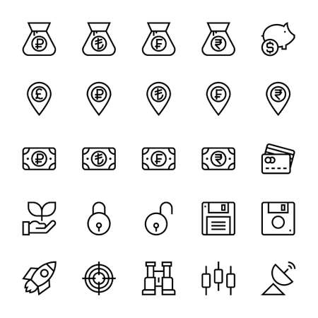 Outline icons for business & financial. Çizim
