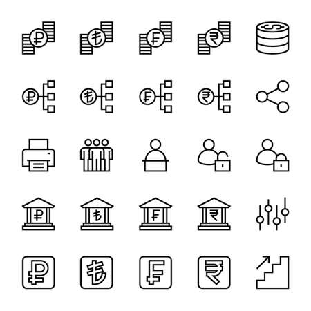 Outline icons for business & financial.