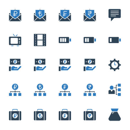 Two color icons for business & financial.