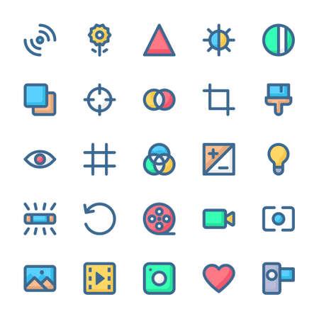 Filled color outline icons for camera. Иллюстрация