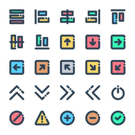Filled color outline icons for sign & symbol. Ilustración de vector