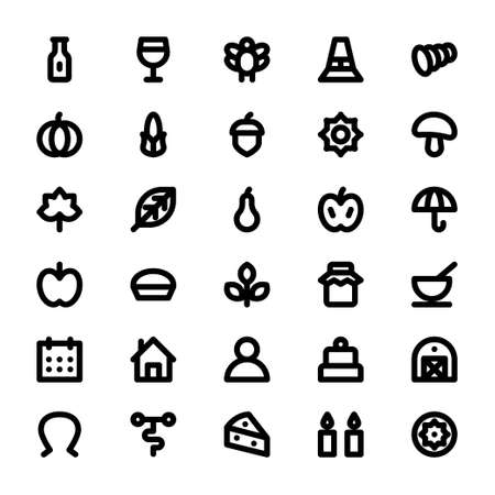 Black outline icons for thanksgiving.