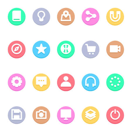 Circle color glyph icons for user interface.