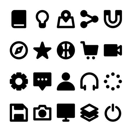 Black glyph icons for user interface. Vector Illustratie
