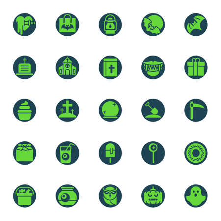 Green color icons for halloween.