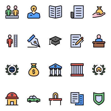 Filled color outline icons for law & justice.