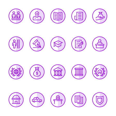 Purple color outline icons for law & justice.