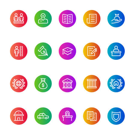 Gradient color icons for law & justice. Vectores