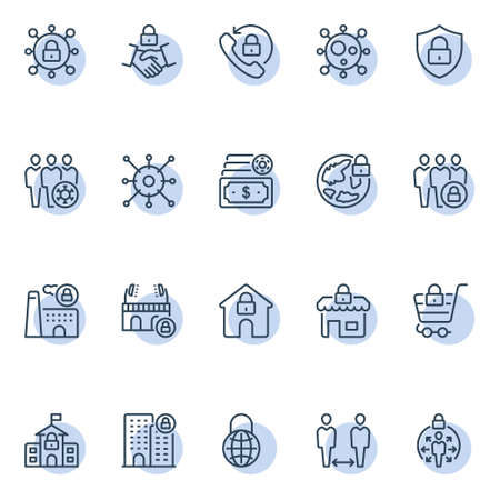 Circle outline icons for lockdown.