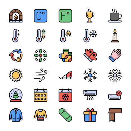 winter icons set for holidays.