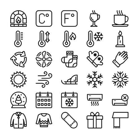 winter icons set for holidays